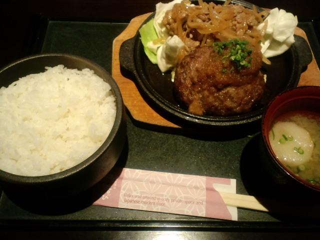 生姜焼き&ハンバーグ定食